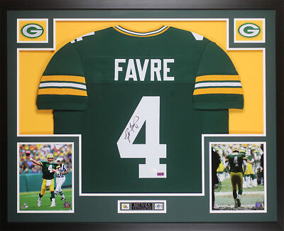 f718eb59cf2 Brett Favre Autographed and Framed Green Packers Jersey Auto JSA COA