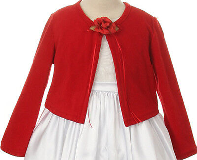 Flower Girl Long Sleeves Cotton Cardigan with Pearl Red KD 133 - Flower Girl Dresses With Red