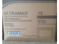 NEW BOXED ULTRAMAX NP100-12 12V 100AH SEALED LEISURE BATTERY FOR CARAVAN MOTOR HOME BOAT ETC