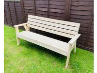 New Solid Pine Three Seater Garden Bench