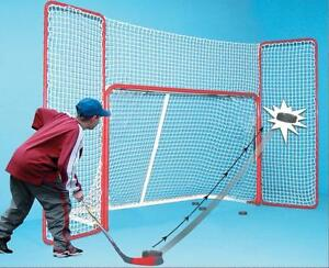 New EZ Goal 10' x 6' Hockey Net Backstop - STOP WASTING YOUR TIME CHASING DOWN PUCKS PROTECT YOUR GARAGE