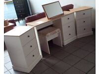 NEW Very Nice Dressing Table with Stool and Two Bedside Cabinets in Putty/Oak SOLD