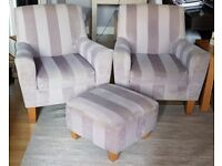 NEXT Armchairs x 2 plus Footstool