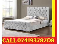 New Offer BLACK FRIDAY SALE CRUSH VELVET DESIGNER CHESTERFIELD BED FRAME MEMORY FOAM Available