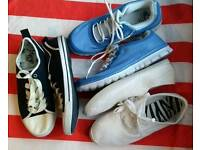 Bundle of 3 pairs of womens size 8 plimsoles/fashion canvas trainers