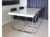 HARVEYS FURNITURE HIGH GLOSS WHITE DINNING TABLE ONLY LENTH 180CM X WIDTH 90CM X HEIGHT 75CM £50