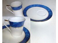 Queen's Fine Bone China Cup & Plate in blue & white - made in England