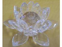 SAKE***Large Clear Crystal Lotus Flower Decoration Wedding Gift Home Office Decor***