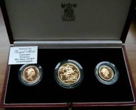 Royal Mint Gold Sovereign 3 coin set 1987