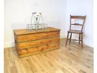 Vintage Slatted Pine Storage Chest / Coffee Table / Blanket Box