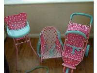 Elc cupcake dolls buggy high chair bouncer toy