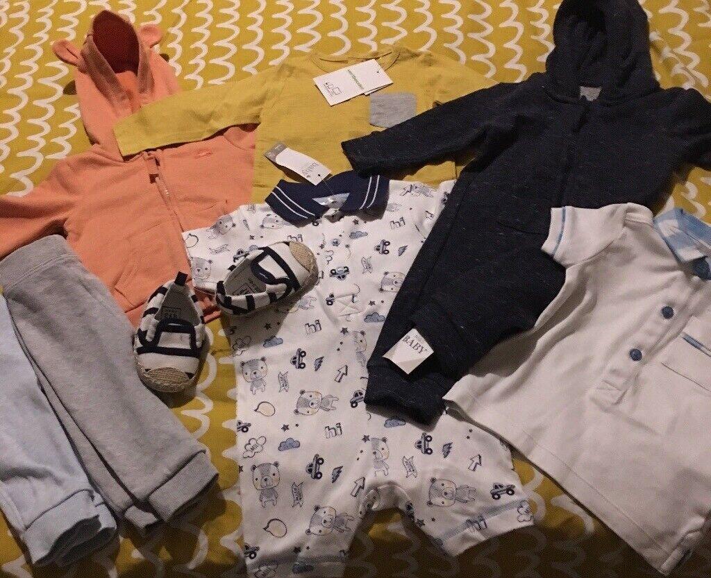 d7c653e73c02 Bundle of new baby boy boys clothes 0-3 3-6 month gap shoes m   s ...