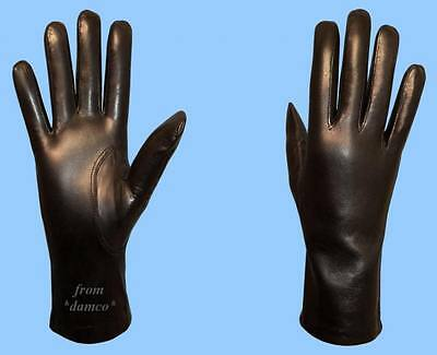 NEW WOMENS size 8 SHEARED RABBIT FUR LINED BLACK LAMBSKIN LEATHER GLOVES