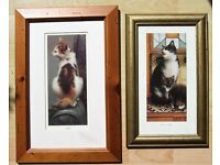 Two Beautiful FRAMED QUALITY CAT PAINTINGS - ONLY £15 THE PAIR!