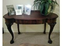 Antique Victorian Console Table (secret drawer) / Ball and claw front legs