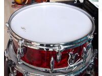 """STRATFORD BESSON (AJAX) 14X5"""" SNARE DRUM 60S VINTAGE. GORGEOUS RED PEARL WRAP"""