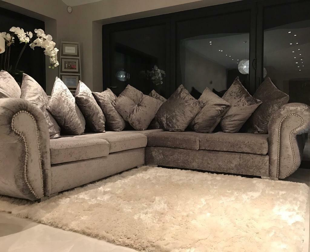 Stunning Luxury Velvet Diamante Stud Chesterfield Corner Sofa Silver Grey