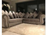 Stunning Luxury Velvet Diamante & Stud Chesterfield Corner Sofa Silver Grey