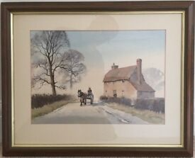'Horse and cart passing cottage'