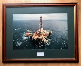 "Large Mounted & Framed Picture of the Sedco 712 with perspex Size Approx 33"" x 25"""