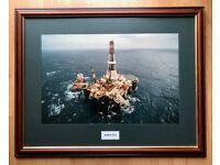 """Large Mounted & Framed Picture of the Sedco 712 with perspex Size Approx 33"""" x 25"""""""