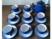 Denby Blue & White Tea Set - 8 Cups & Saucers & Teapot - Perfect condition.