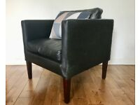 Small Black Leather Armchair #706