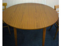 Vintage retro folding formica round kitchen dining table mid century 50s 60s shabby chic