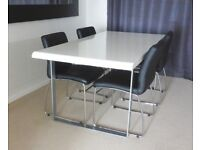 USED HARVEYS FURNITURE WHITE HIGH GLOSS DINNING TABLE £40
