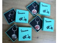 Retro VESPA Scooter Chrome Keyring Original New & Boxed Key Ring Gift