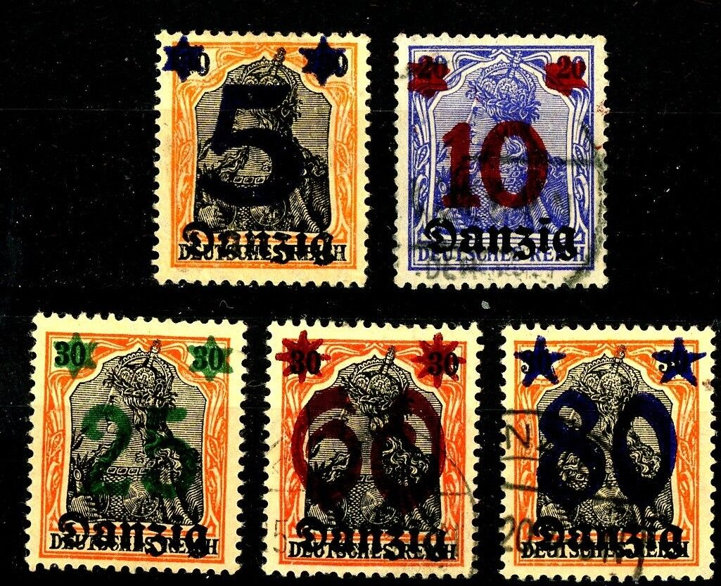 Danzig 1920 Germania Surcharged Issues Complete Set of 5 Used Scott's 19 to 23