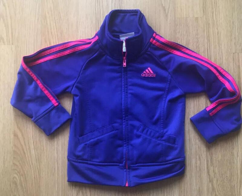 Adidas Toddler Girls Track Jacket Coat Purple Pink Logo Size 24 Months