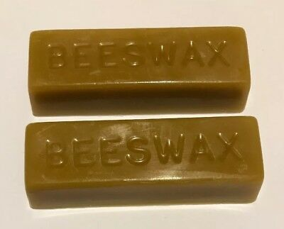 2 Pure Natural Beeswax Blocks Sticks For Food Wraps Polish Candles Sewing  Boots