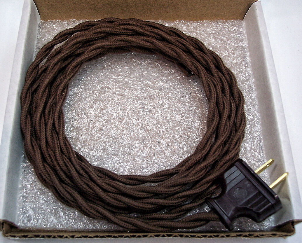Dark Brown Cloth Covered Wire Vintage Rewire Kit Lamp Cord Fan ...