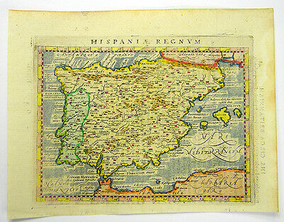 SPANIEN PORTUGAL MAPPA ESPANA KUPFERSTICH KARTE PTOLEMAEUS MAGINI 1597 #D957WS