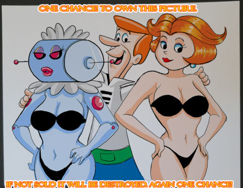 Rosie robot  jane jetson (jetsons) Lucky CG Color Illustration Sign Print 8.5x11