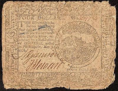 1776 4$ FOUR DOLLAR NOTE CONTINENTAL CURRENCY OLD PAPER MONEY VG