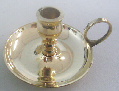 """Brass Chime Candle Holder with Finger Ring (Chamberstick) for Candles 4"""" x 1/2"""""""