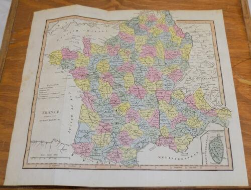 1817 Antique COLOR Map///FRANCE
