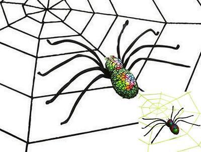 Riesen Spinnennetz 220 cm + Riesen Spinne schwarz, Neon grün leuchtet Deko