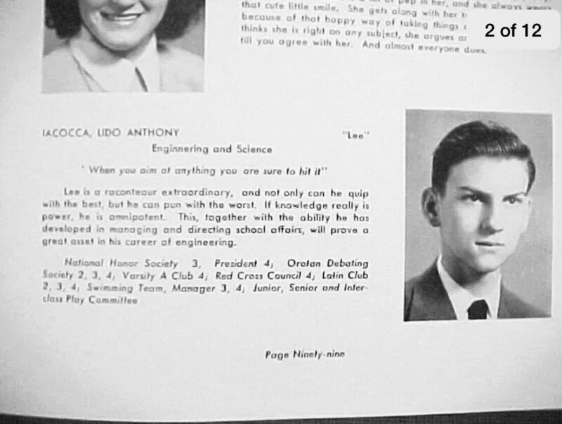 Lee Iacocca High School Yearbook Chrysler Ford Motors CEO Father Of The Mustang