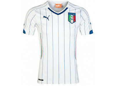 PUMA ITALY Italia AWAY REPLICA 2014-16 FOOTBALL JERSEY WHITE 744297 YOUTH Size M image