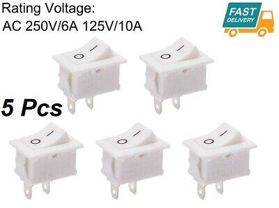 5pcs Mini Switch Rocker Switch Power On Off Ac 250v6a 125v10a 2pin