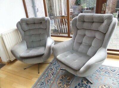 Pair of Vintage Mid CenturyVeno Tilt Swivel Egg Chairs Parker Knoll Style