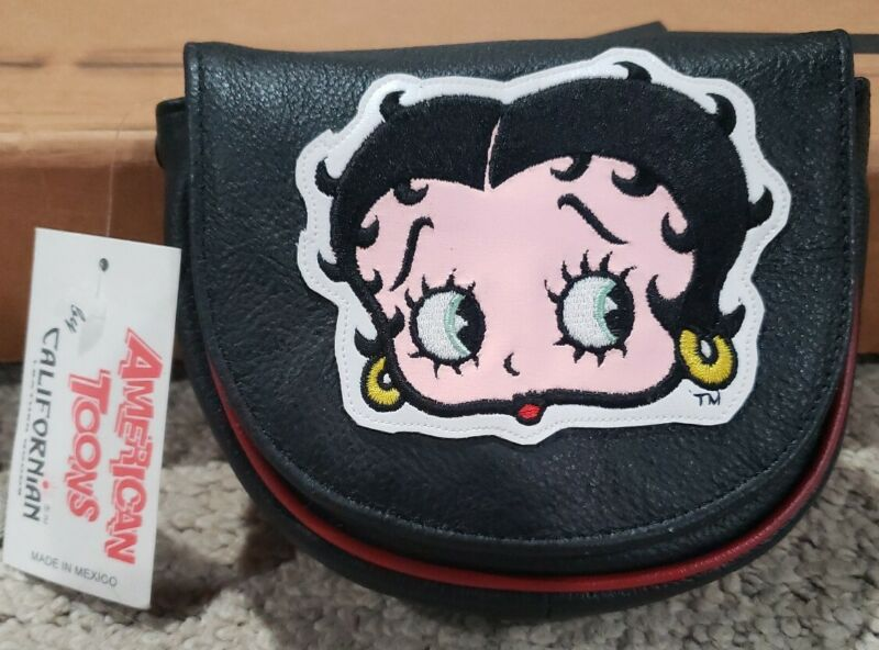 BETTY BOOP AMERICAN TOONS REAL LEATHER CALIFORNIAN SHOULDER PURSE BRAND NEW