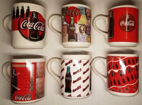Coca Cola Coffee Mugs 1997 Set of Six Full Set of Mugs Red and White