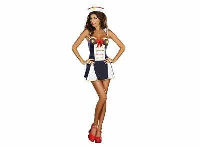 Sassy Sailor Girl Costume Sexy Ladies Navy Fancy Dress Womens Outfit Hen Party