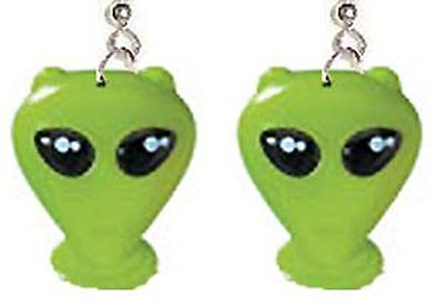 Funky GREEN ALIEN EARRINGS Sci-Fi Roswell Martian Cosplay Costume Jewelry HUGE - Sci Fi Female Costumes