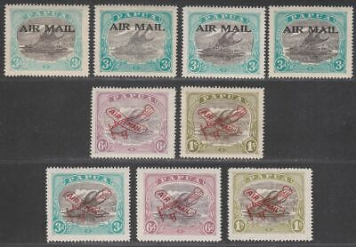 Papua 1929-30 KGV Airmail Overprint Selection to 1sh Mint