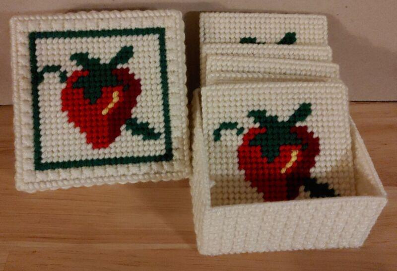 Set Of Six Needlepoint Coasters With Box Vintage Strawberry Fruit Hand Made